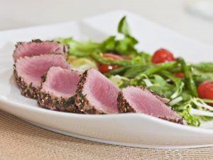 Sliced Seared Tuna Steak Salad